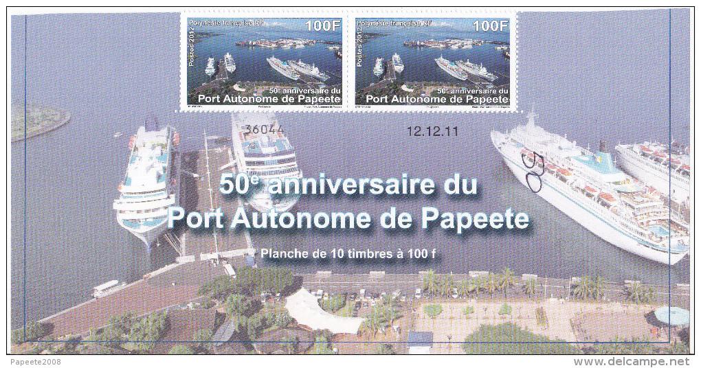 Polynésie Française / Tahiti - 50° Anniversaire Du Port De Papeete / 100 F / Numéroté Et Daté / 2011 - Polynésie Française
