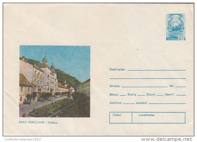15536- BAILE HERCULANE- SPA TOWN, STREET VIEW, CAR, COVER STATIONERY, 1981, ROMANIA - Entiers Postaux