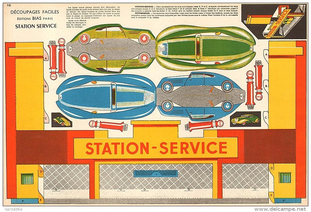 Découpage Maquette - Station Service ESSO Avec 2 Autos Aérodynamiques - Cut-out Paper Model - Années 50 BIAS Paris - Old Paper