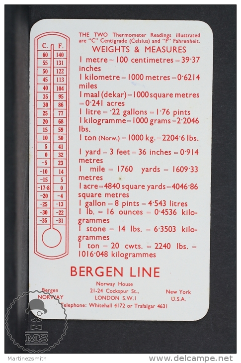 1956 Small/ Pocket Calendar - Bergen Line - Norway & Holland - M.S. Meteor Cruises - Calendarios