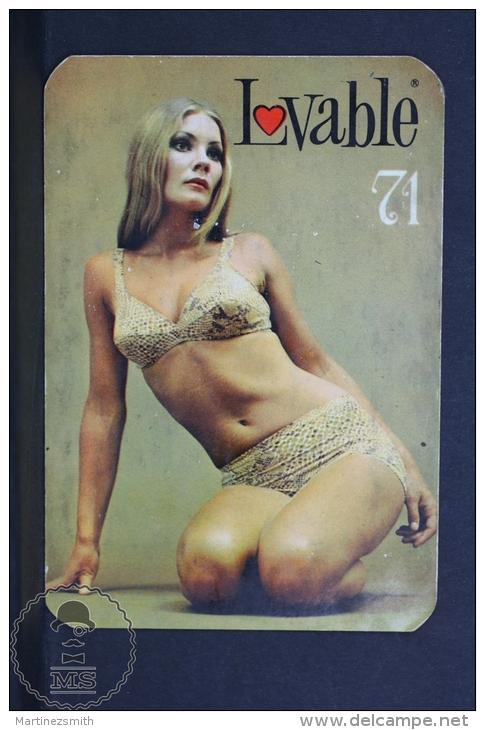 1971 Small/ Pocket Calendar - Spanish Lovable Lingerie Advertising - Sexy Blonde Girl In Lingerie - Tamaño Pequeño : 1971-80