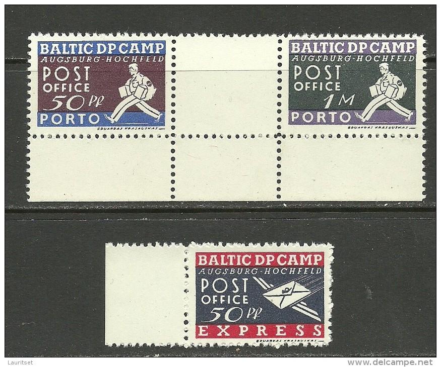 LETTLAND Estland Litauen 1946 Augsburg DP Camp Lagerpost MNH Incl Zwischensteg ! - Estonia