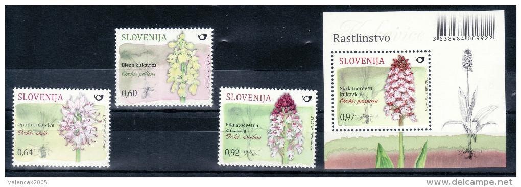 3333 Slowenien Slovenia Slovenie 2015 ** MNH Seria Block Flora Flowers Blumen Monkey Orchid Burnt-tip Orchid Knabenkraut - Orchidées