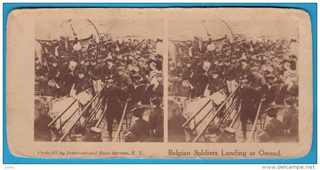 BELGIAN SOLDIERS LANDING AT OSTEND - Stereoscope Annciene Stereo Photo Card Carte Stéréoscopique BELGIUM BELGIE OOSTENDE - 1914-18
