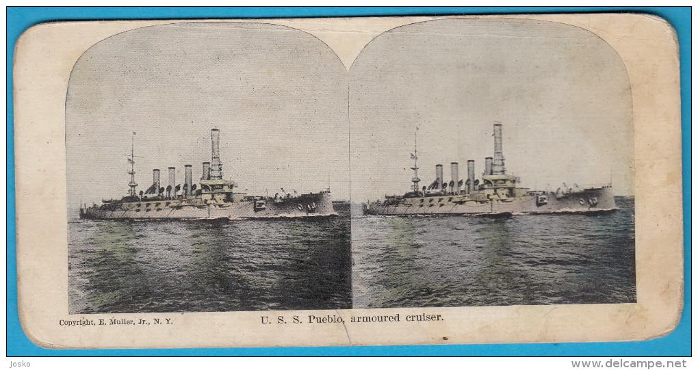 USS PUEBLO  ARMOURED CRUISER ( Usa Warship US Navy ) Vintage Stereoscope Annciene Stereo Photo Card Carte Stéréoscopique - 1914-18