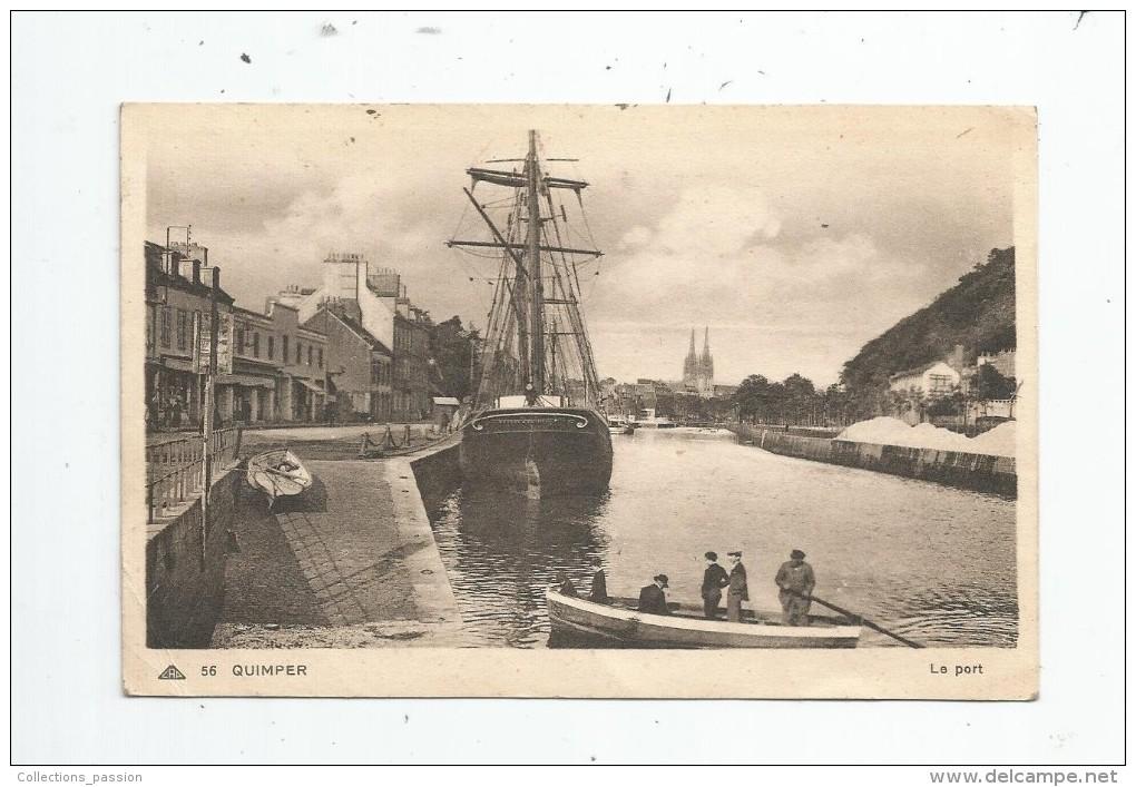 Cp , Bateaux , Voilier , Barque , QUIMPER , Le Port , Voyagée 1939 , Ed : Nouvelles Galeries - Cap 56 - Sailing Vessels