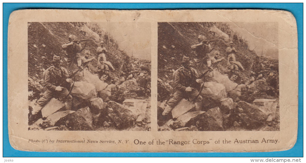 ONE OF THE RANGOR CORPS OF THE AUSTRIA ARMY - Old Stereoscope Annciene Stereo Photo Card Carte Stéréoscopique OSTERREICH - 1914-18
