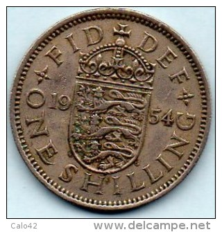 // GREAT BRITAIN / GRANDE BRETAGNE  1 ONE SHILLING 1954  ELIZABETH II  Engliish Crest - 1902-1971 : Monete Post-Vittoriane