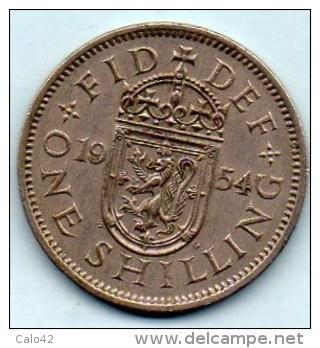 // GREAT BRITAIN / GRANDE BRETAGNE  1 ONE SHILLING 1954  ELIZABETH II  Scottish Arms - 1902-1971 : Post-Victorian Coins
