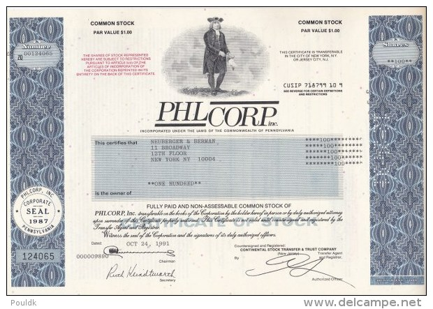 Shares: PHL Corp. Inc. - 100 Shares From 1991 (L72-13) - Actions & Titres