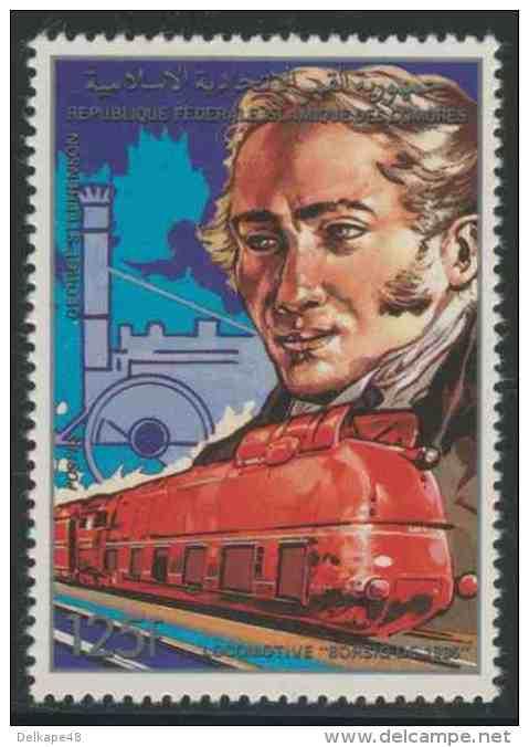 """Comores Komoren 1988 Mi 872 A ** Georg Stephenson (1781-1848) Rail-engineer + """"Rocket""""+ Borsig Class 05 Steam Loc (1935) - Treinen"""