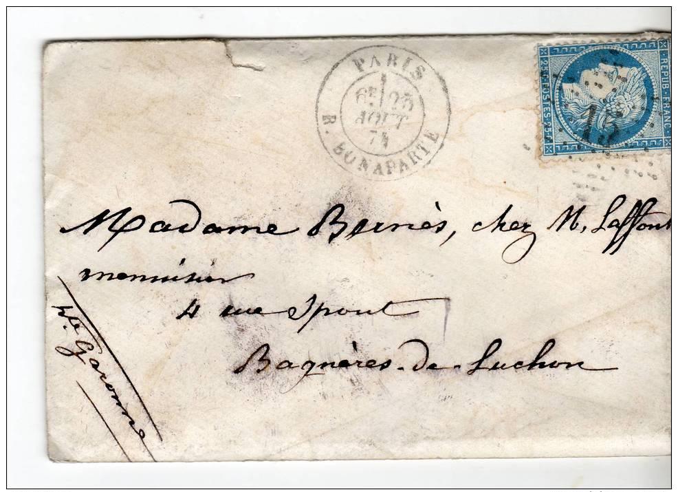 Paris Etoile 15+cachet 1530 R. BONAPARTE Ceres 25c Bleu N°60 I, 1 Aout 874 - Marcophilie (Lettres)