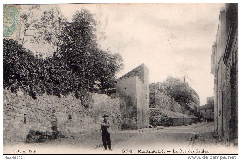 Cpa (75) Montmartre -- La Rue Des Saules (tres Belle Carte) - Francia