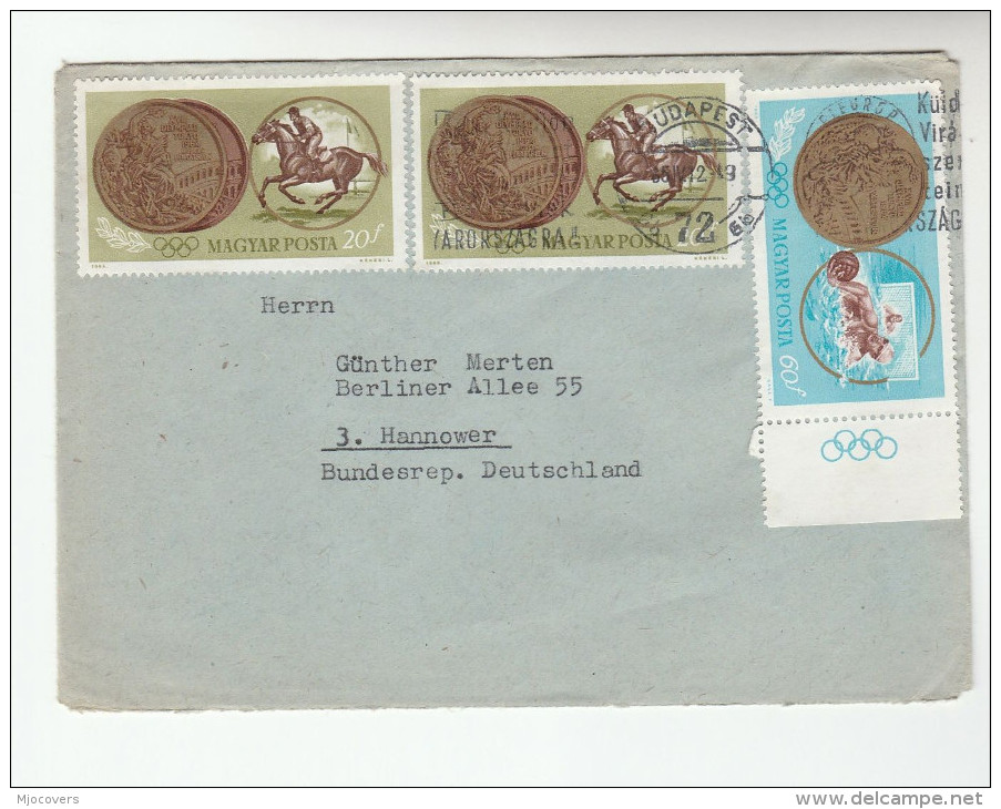 1965 HUNGARY COVER Multi Stamps OLYMPIC EQUESTRIAN HORSES  Olympics Games Sport Horse - Summer 1964: Tokyo