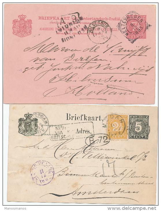 EB24 - NETHERLANDS INDIES 5 Maritime Cards 1881/1893 - NED INDIE VIA BRINDISI - Indes Néerlandaises