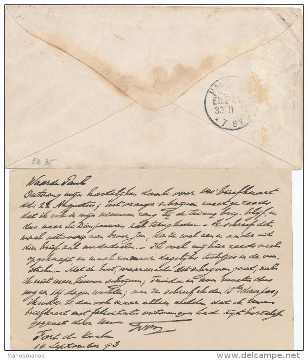 EB25 - NETHERLANDS INDIES  2 Maritime Cover/Card 1893/1894 - NED INDIE VIA GENUA - Nederlands-Indië