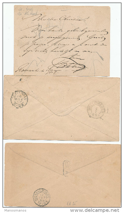 EB26 - NETHERLANDS INDIES 3 Maritime Covers/Card 1888/1895 - NED INDIE VIA MARSEILLE - Nederlands-Indië