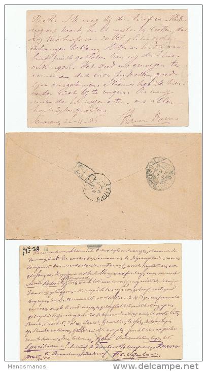 EB27 - NETHERLANDS INDIES 3 Maritime Cover/Cards 1884/1889 - NED INDIE VIA NAPELS - Nederlands-Indië