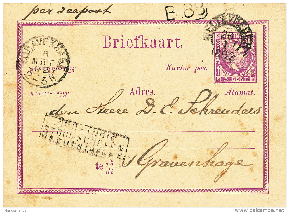 EB29 - NETHERLANDS INDIES Maritime Card WELTEVREDEN 1892 - NED INDIE STOOMSCHEPEN RECHTSTREEKS - Nederlands-Indië