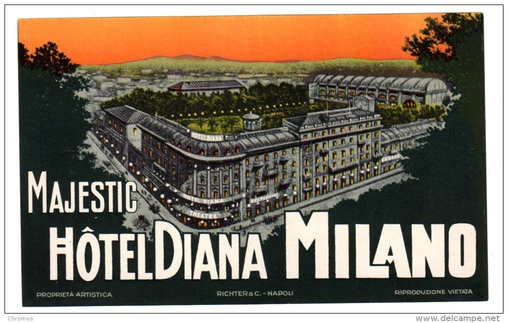 """Etiquette Label Hotel """"Majestic Diana"""" Milano, Italie - Etiquetas De Hotel"""