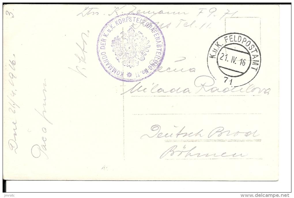 Carte Postale  Autriche  K U K Feldpost N° 71 Corps Télégraphe N° 11  (210/211) - 1850-1918 Imperium