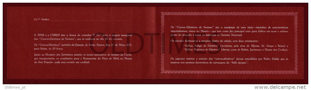 PORTUGAL - CARRIS - CONVITE PARA VIAGEM INAUGURAL DOS CARROS-ELECTIRCOS DE TURISMO - 1965 INVITATION - Other