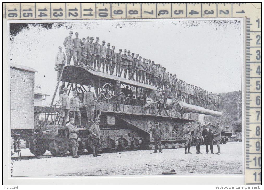 Militari Guerra 1915/1918  Genova Ansaldo Cannone Su Affusto Ferroviario Treni Ferrovia - Vecchi Documenti