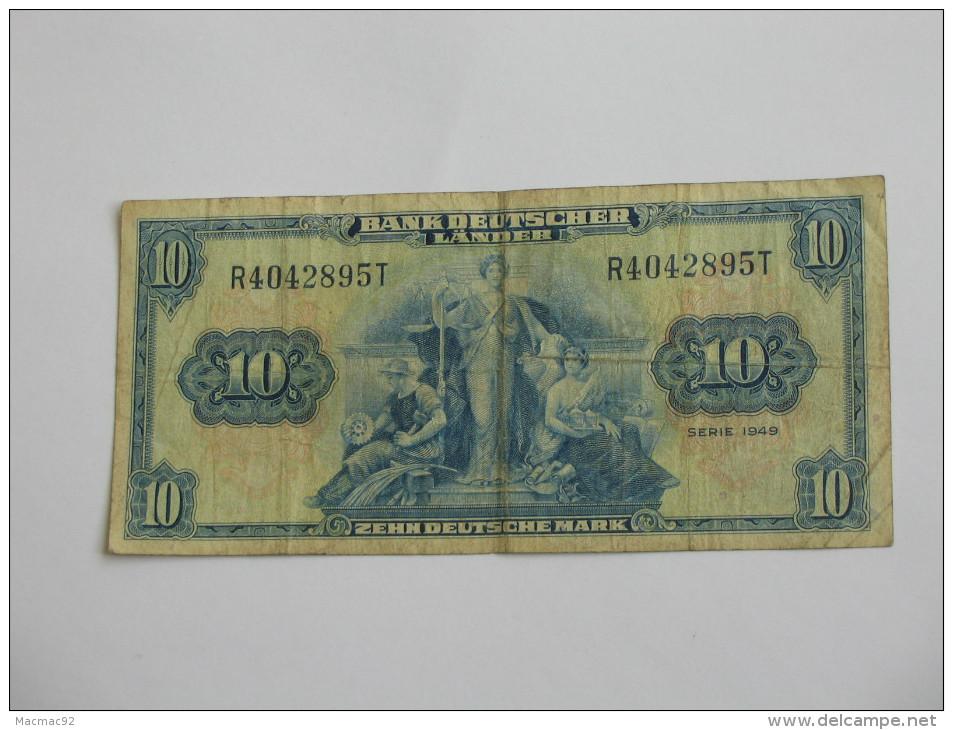 10 Zehn Deutsche Mark - Bank Deutscher Lande - Série 1949  - Allemagne - Germany **** EN ACHAT IMMEDIAT **** - [ 7] 1949-… : RFA - Rep. Fed. Tedesca