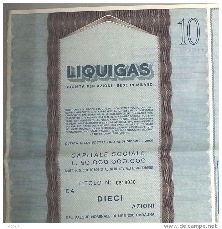 LIQUIGAS - SOCIETA´ PER AZIONI  /   TITOLO  AZIONARIO DA 10  AZIONI  _  1973 - Electricité & Gaz