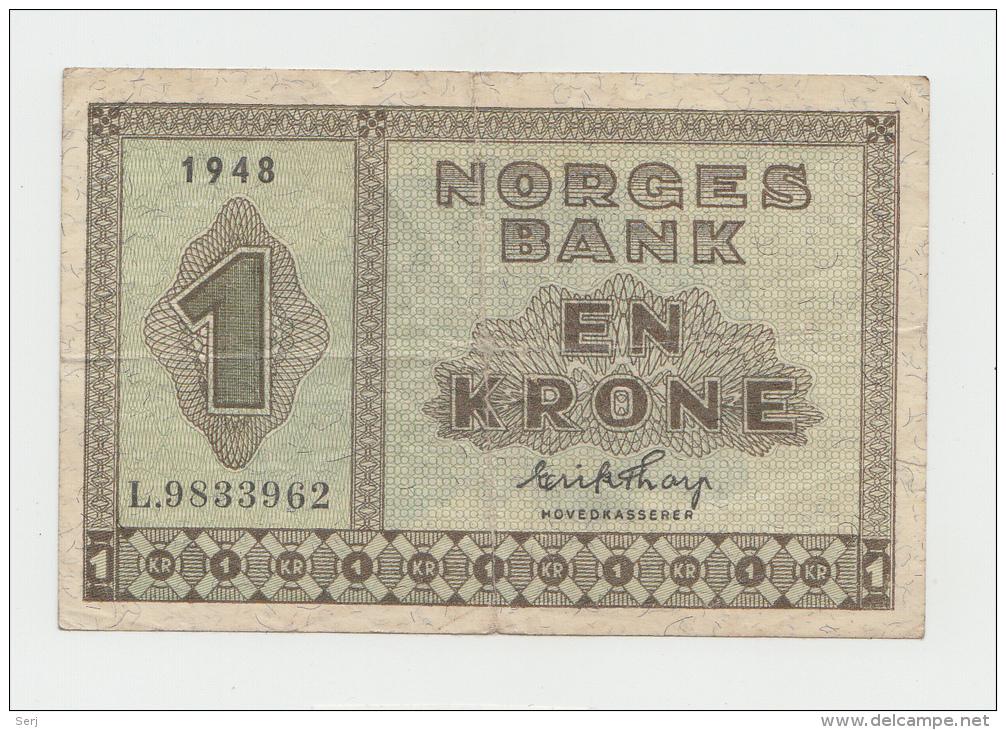 Norway 1 Krone 1948 VG++ Pick 15b 15 B - Norway