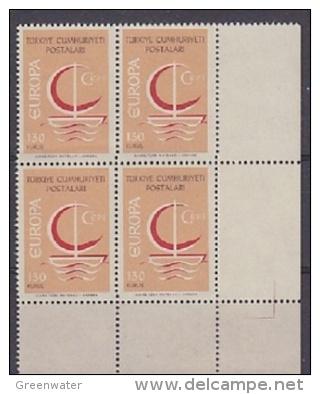 Europa Cept 1966 Turkey 130K (wrong Colour) 1v  Bl Of 4 (corner)  ** Mnh (27761) - Europa-CEPT