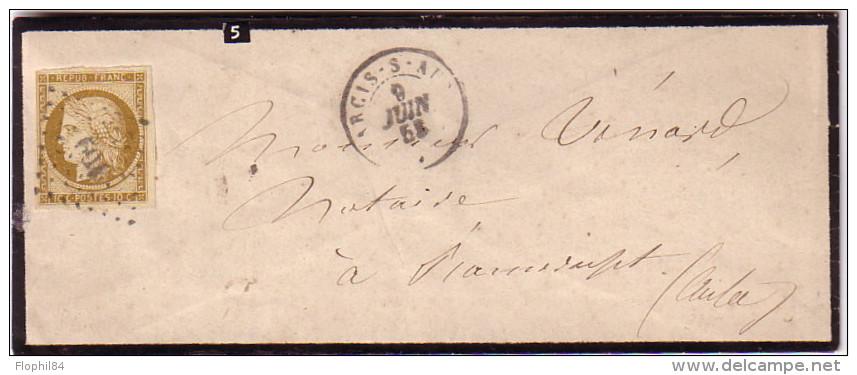 AUBE - ANCIS-S-AUBE - CERES N°1 - OBLITERATION PC 109 - ENVELOPPE DU 9-6-1853 - TIMBRE COTE 750€ SUR LETTRE. - 1849-1876: Classic Period