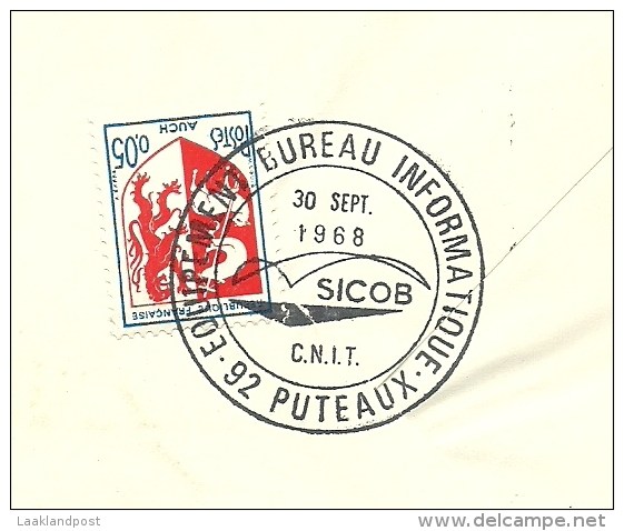 Equipment Bureau Informatique SICOB C.N.I. T., Puteau, 30/9/1968  Yvert 1561 Et Armoires De Ville Auch - Frankrijk