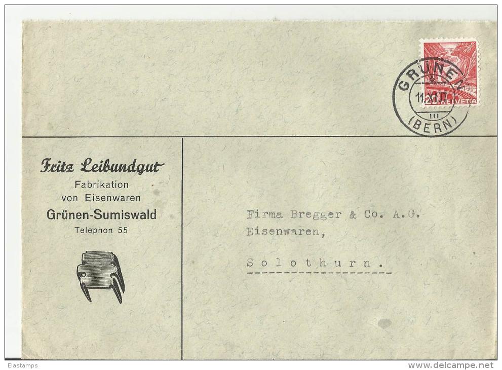 =Schweiz CV  1937 GRUNEN - Cartas