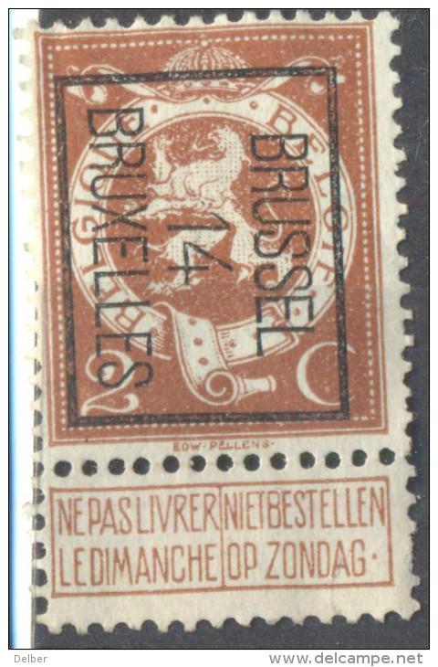 5Nz-998: N° 50: BRUSSEL 14 BRUXELLES - Precancels
