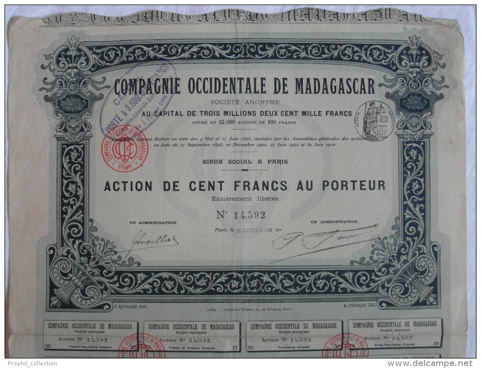 Action 1910 Compagnie Occidentale Madagascar 100 F Action Au Porteur TIMBRE HUMIDE Siege à Paris Emprunt Titre Coupons - Afrique