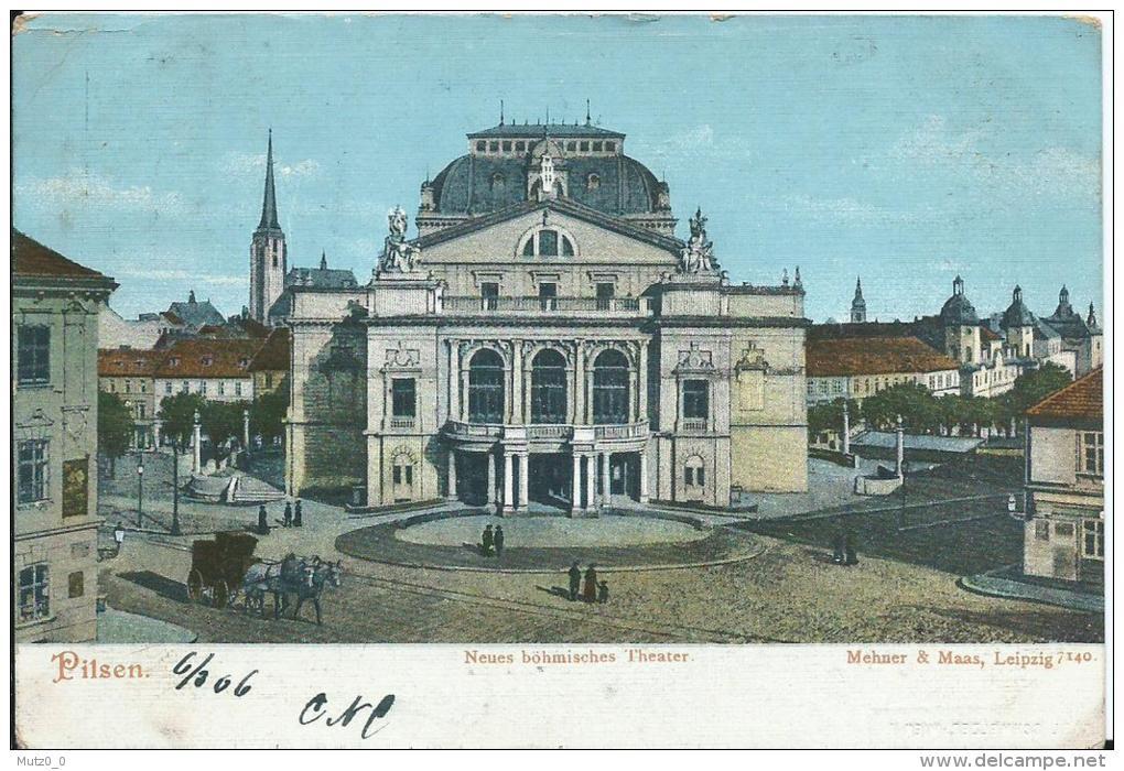 AK 0101  Pilsen - Neues Böhmisches Theater / Verlag Mehner & Maas Um 1900 - Tschechische Republik
