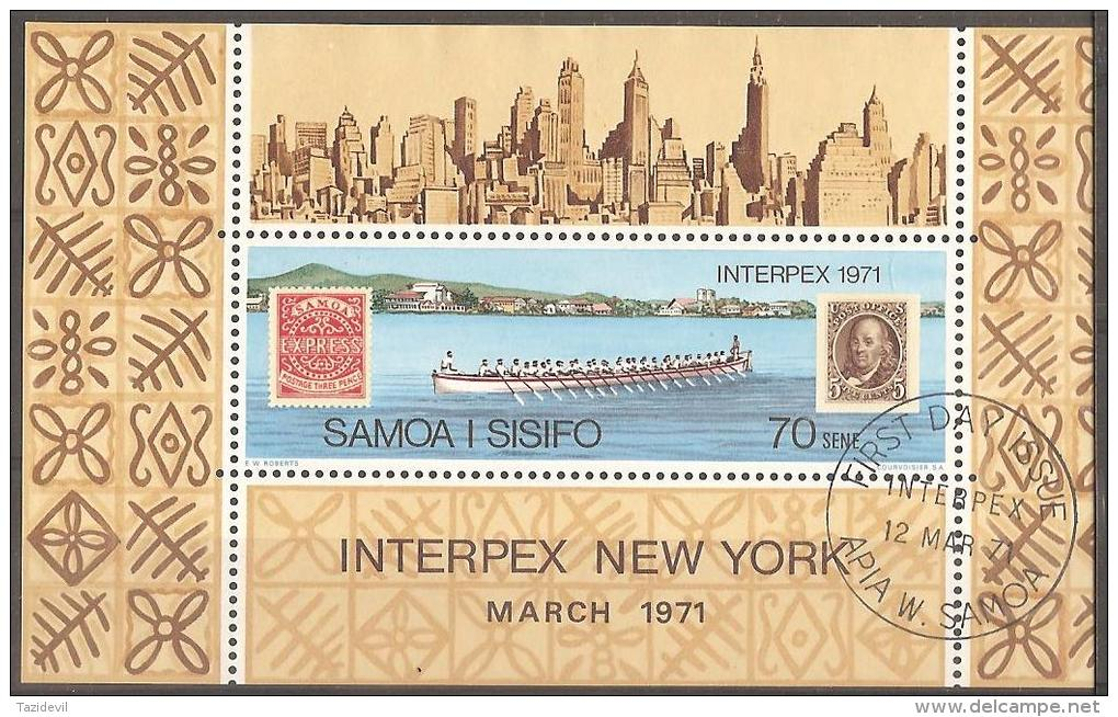 SAMOA - 1971 Philatelic Exhibition Souvenir Sheet, Cancelled First Day Of Issue. Scott 343. Used - Samoa