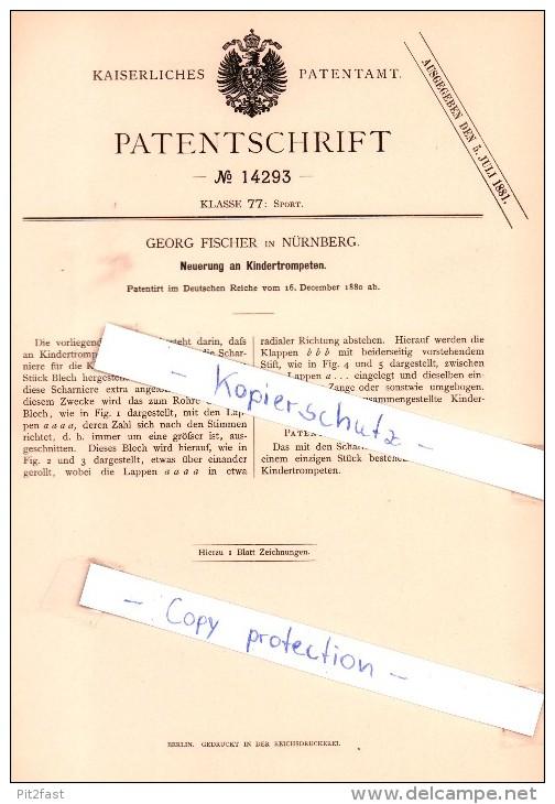 Original Patent - Georg Fischer In Nürnberg , 1880 , Kindertrompeten , Trompete , Trumpet , Brass !!! - Musikinstrumente