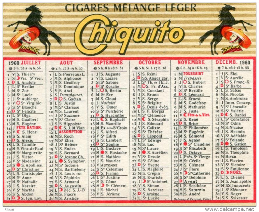 CALENDRIER 1960(CIGARE CHIQUITO) - Calendriers