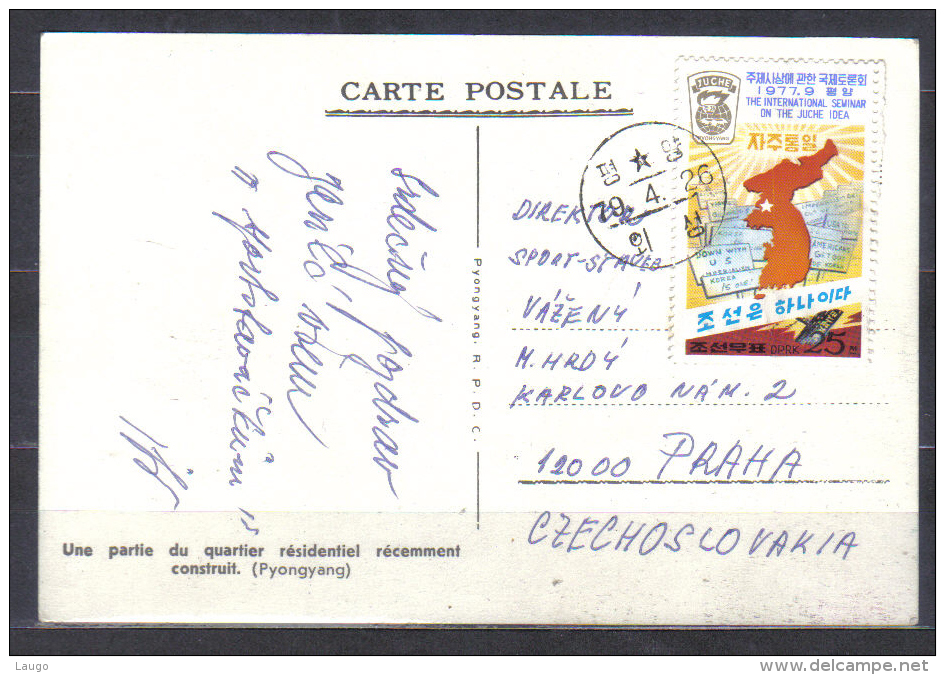 North Korea Postcard Pyongyang , Modern Buildings  Posted 1979 To Czechoslovakia RARE - Korea, North