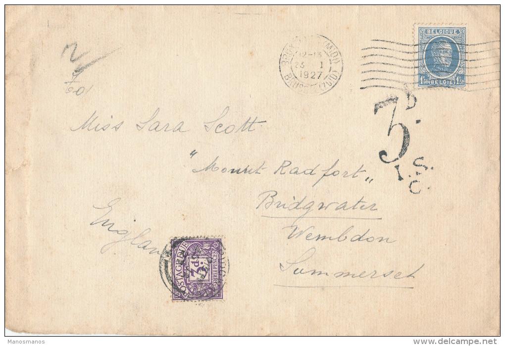 182/23 - Lettre TP Houyoux BRUXELLES 1927 Vers Angleterre - Taxée Pour Double Port 3 D En Timbre-Taxe - 1922-1927 Houyoux