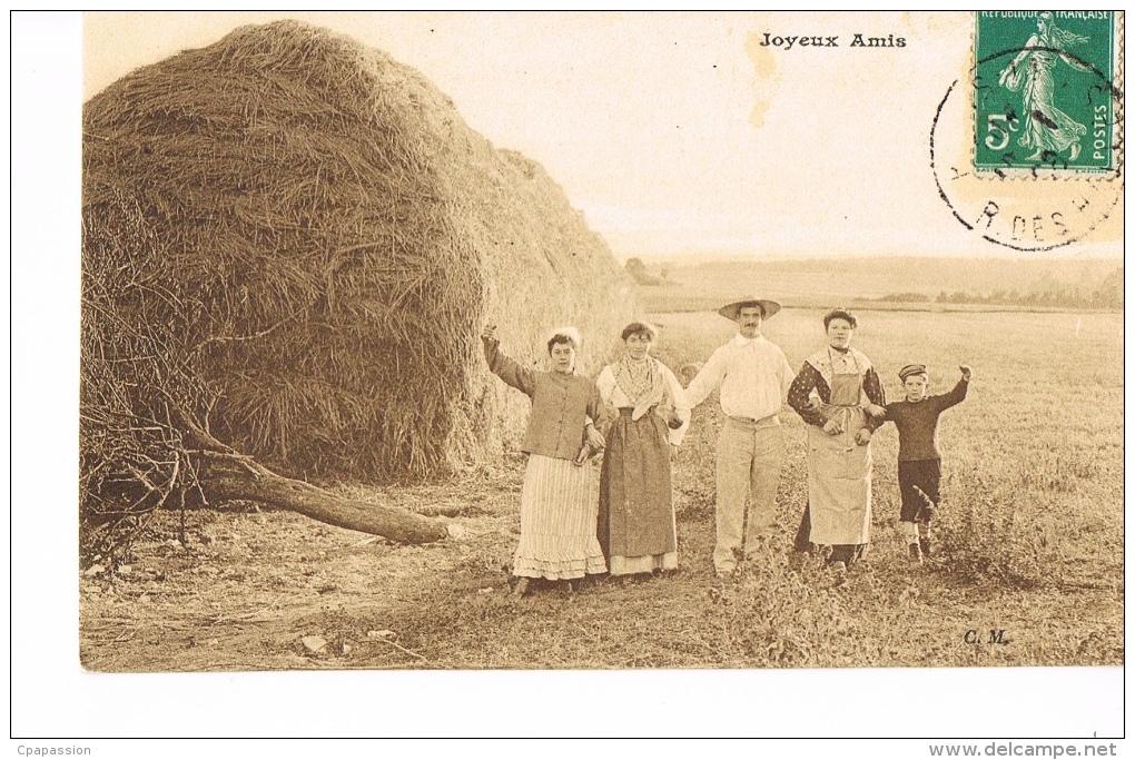 CPSM AGRICULTURE FENAISON- Groupe Familial De PAYSANS - JOYEUX AMIS -  RECTO VERSO - Agricoltura