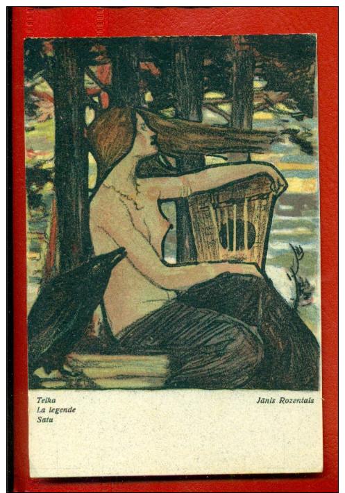 LATVIA LETLAND NUDE WOMAN, CARRION CROW BY JANIS ROZENTALS VINTAGE POSTCARD W3004 - Other Illustrators