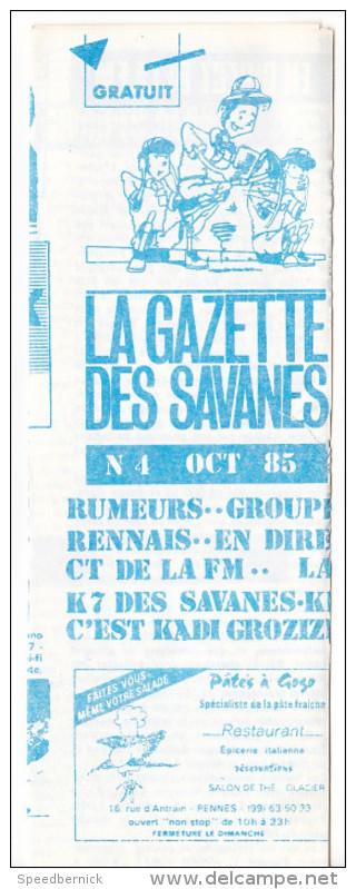 Rennes 35 France - Dépliant Journal De Radio Libre FM La GAZETTE DES SAVANNES - N° 4 Oct 1985 - Livres, BD, Revues