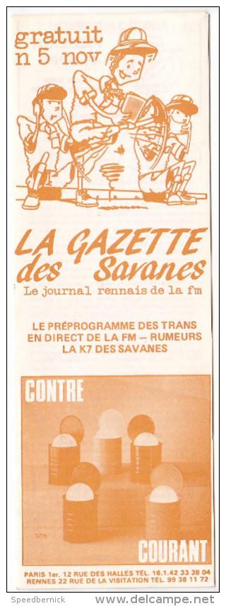 Rennes 35 France - Dépliant Journal De Radio Libre FM La GAZETTE DES SAVANNES - N° 5 Nov 1985 - Livres, BD, Revues
