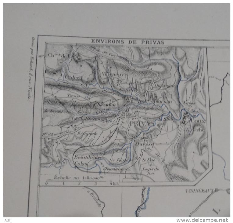 @ ANCIENNE CARTE ETAT MAJOR DEPARTEMENT 07 ARDECHE AVANT 1912 PRIVAS - Mapas