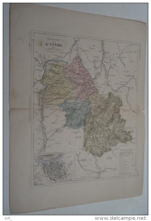 @ ANCIENNE CARTE ETAT MAJOR DEPARTEMENT 38 ISERE  AVANT LA GUERRE 14 PLAN DE GRENOBLE - Geographical Maps