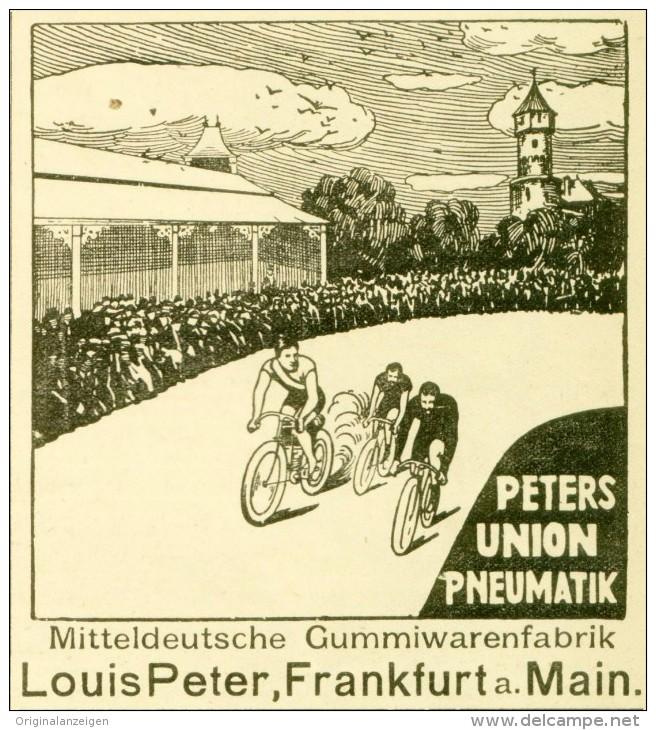 Original-Werbung/Anzeige 1906 - PETERS UNION PNEUMATIK / LOUIS PETER FRANKFURT - Ca. 90 X 100 Mm - Werbung