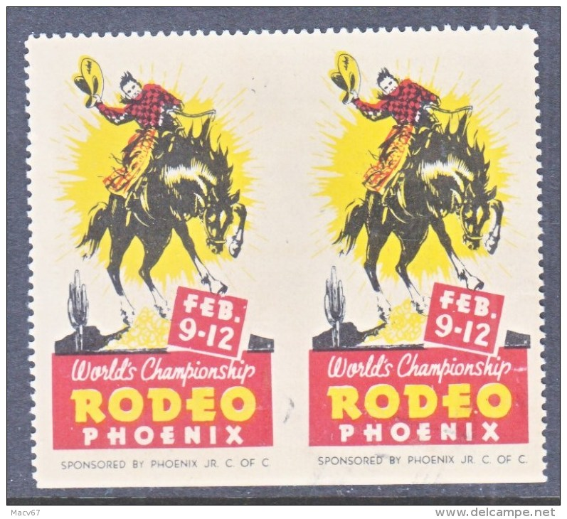 POSTER  STAMP  RODEO  PHOENIX  IMPERF  PAIR  * - United States